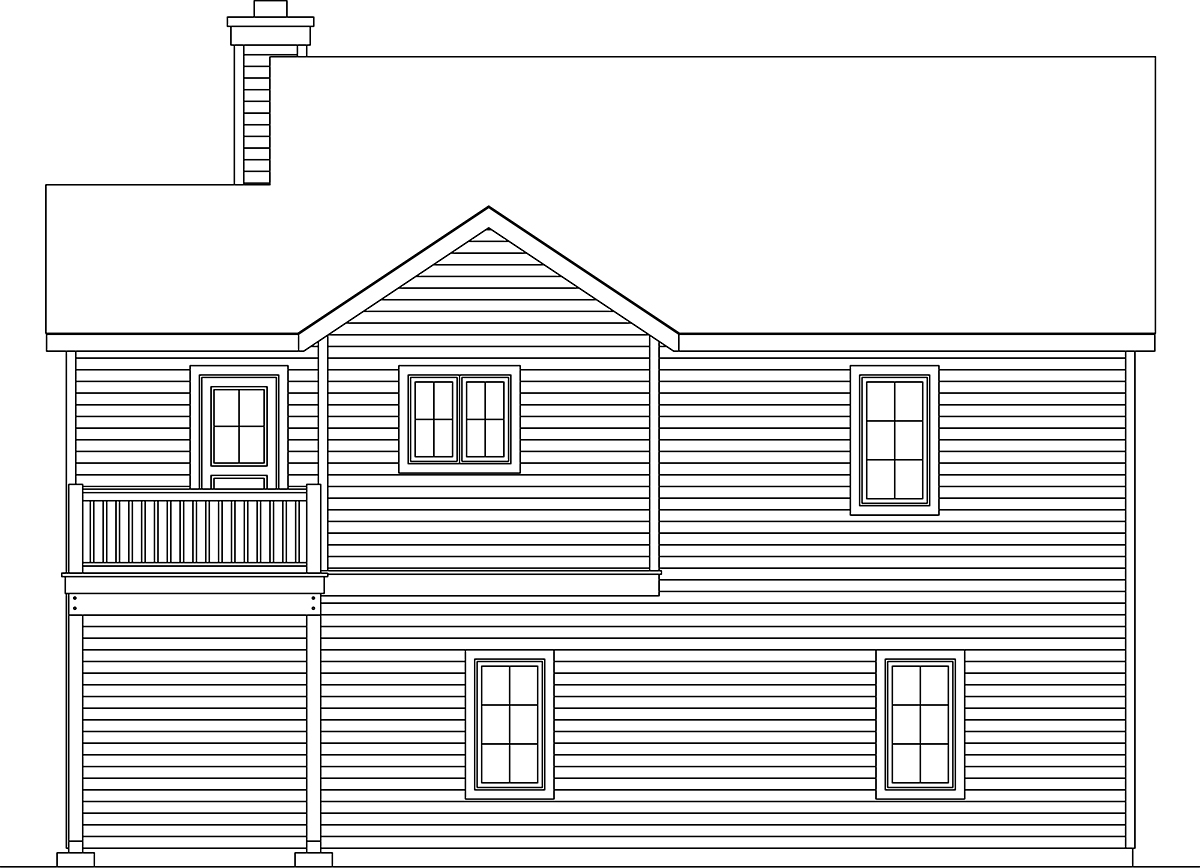 Traditional House Plan 45190 with 2 Beds, 3 Baths, 2 Car Garage Rear Elevation