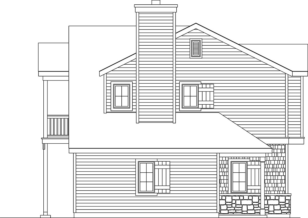 Traditional 2 Car Garage Apartment Plan 45191 with 1 Beds, 1 Baths Picture 2