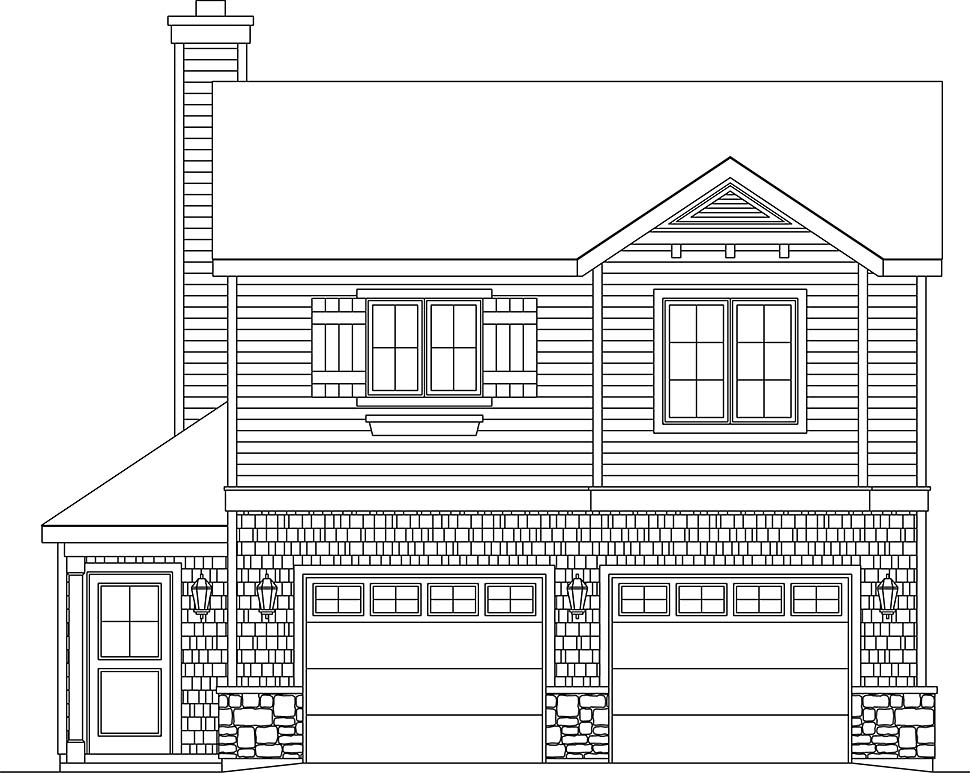Traditional 2 Car Garage Apartment Plan 45191 with 1 Beds, 1 Baths Picture 3