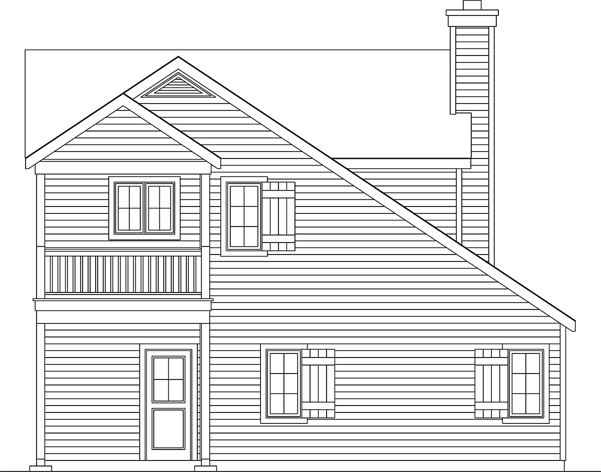Traditional 2 Car Garage Apartment Plan 45191 with 1 Beds, 1 Baths Rear Elevation