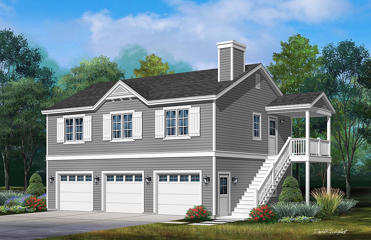 Traditional 3 Car Garage Apartment Plan 45192 with 2 Beds , 2 Baths Elevation