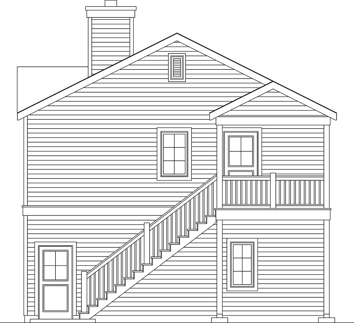 Traditional 3 Car Garage Apartment Plan 45192 with 2 Beds, 2 Baths Picture 1