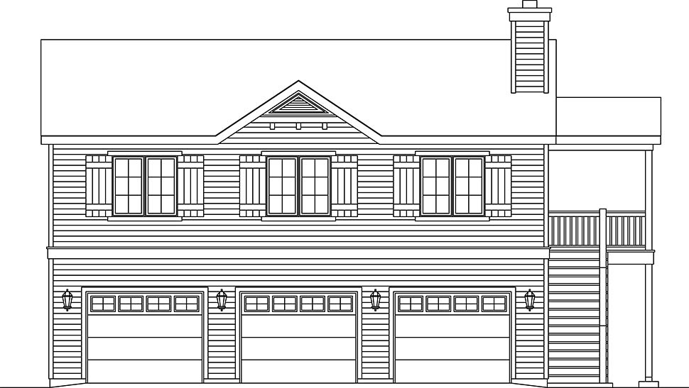 Traditional 3 Car Garage Apartment Plan 45192 with 2 Beds, 2 Baths Picture 3