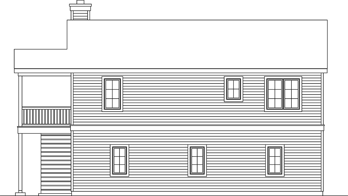 Traditional 3 Car Garage Apartment Plan 45192 with 2 Beds, 2 Baths Rear Elevation