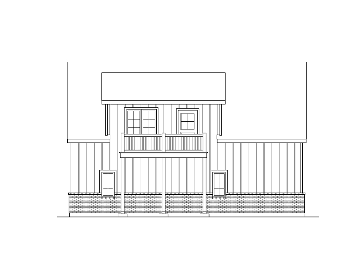 Country, Craftsman, Traditional 2 Car Garage Plan 45193 with 1 Beds, 1 Baths Rear Elevation