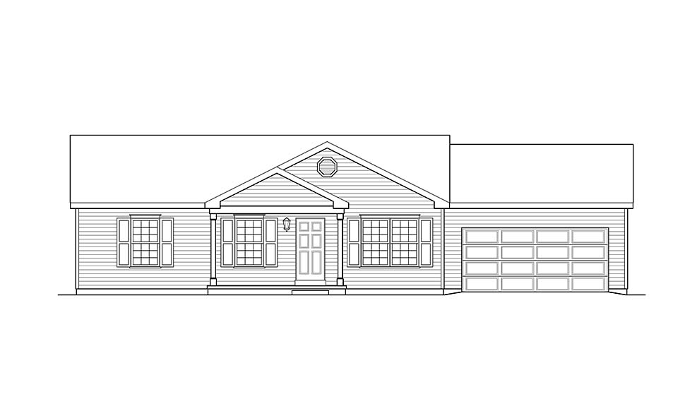 Ranch, Traditional House Plan 45194 with 3 Beds, 2 Baths, 2 Car Garage Picture 3