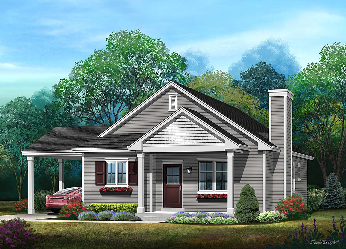 Ranch, Traditional House Plan 45195 with 3 Beds, 2 Baths, 1 Car Garage Elevation