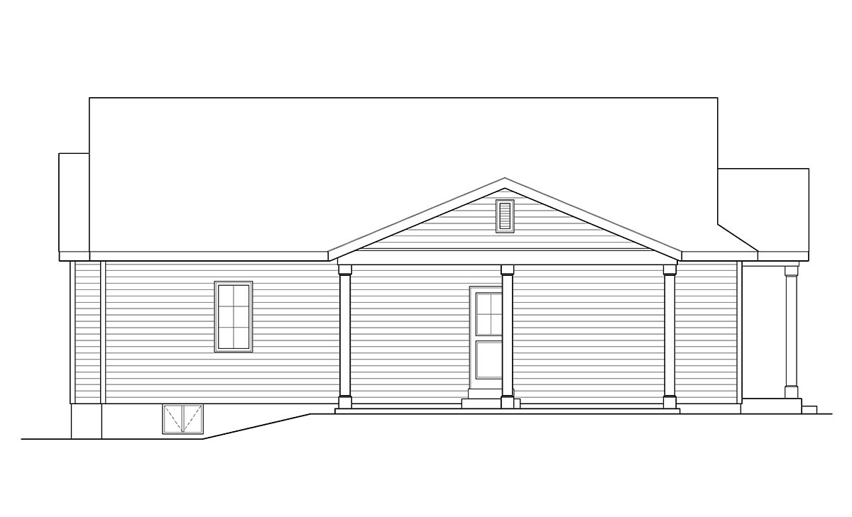 Ranch, Traditional House Plan 45195 with 3 Beds, 2 Baths, 1 Car Garage Picture 2