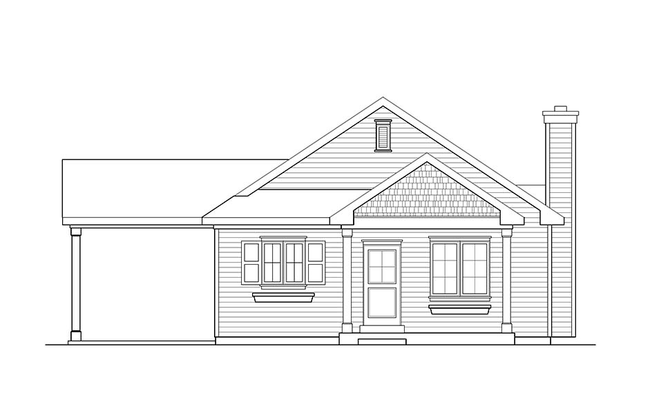 Ranch, Traditional House Plan 45195 with 3 Beds, 2 Baths, 1 Car Garage Picture 3
