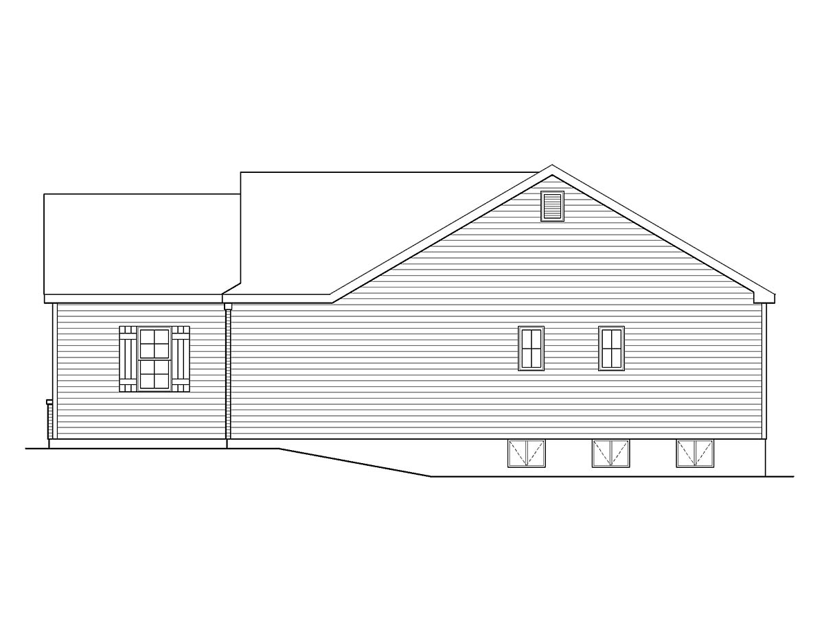 Ranch, Traditional House Plan 45199 with 3 Beds, 3 Baths, 2 Car Garage Picture 1