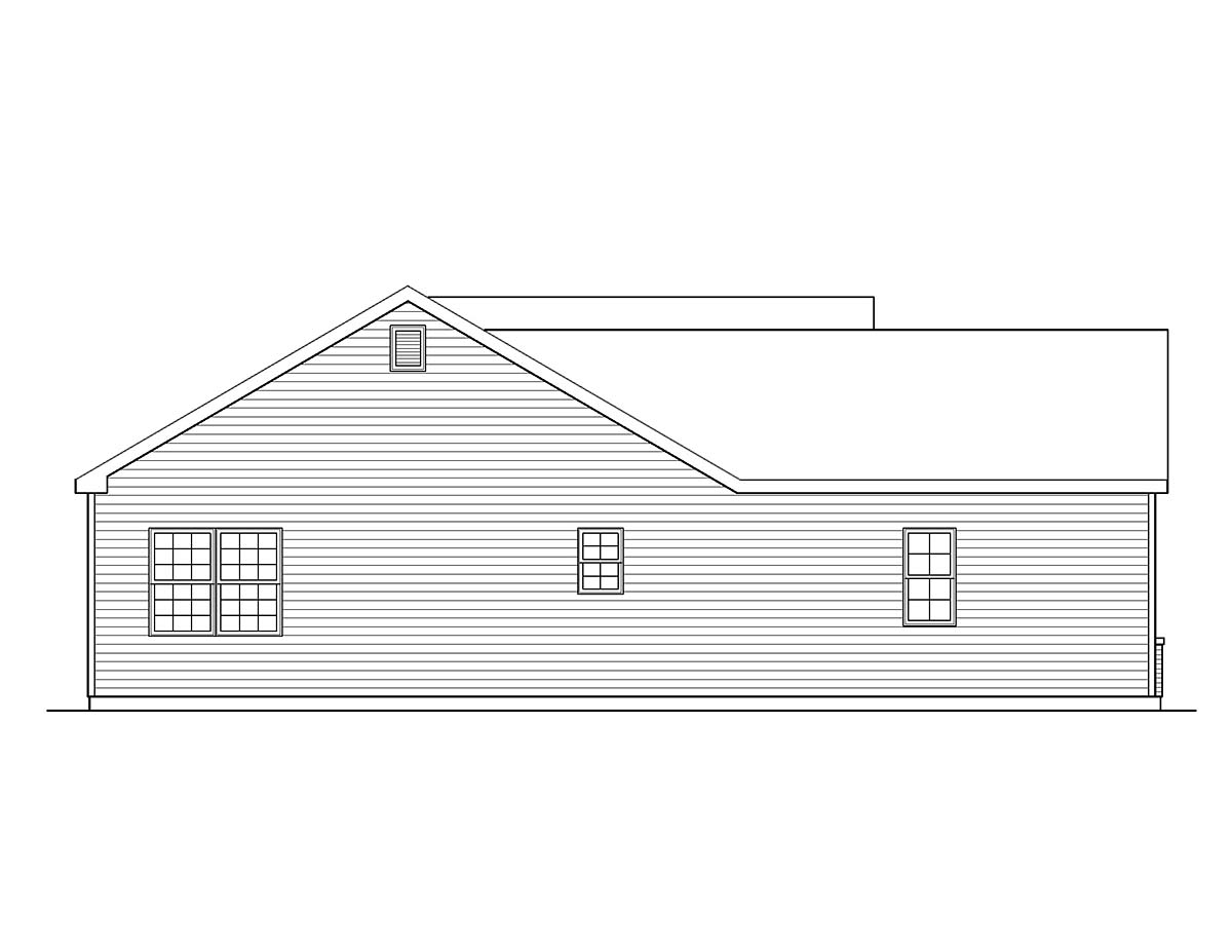 Ranch, Traditional House Plan 45199 with 3 Beds, 3 Baths, 2 Car Garage Picture 2