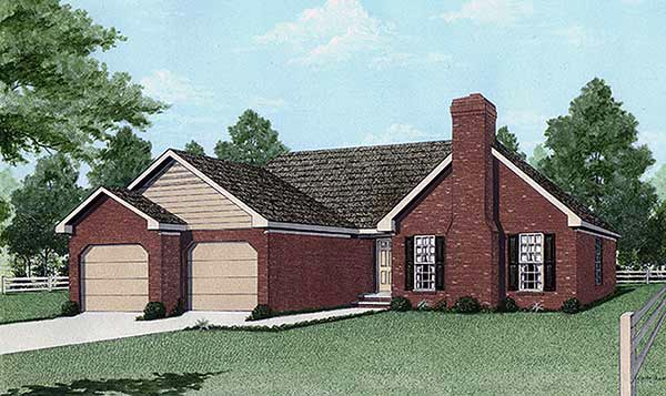 House Plan 45201 | Traditional Style Plan with 1607 Sq Ft, 3 Bed, 2 Bath, 2 Car Garage Elevation