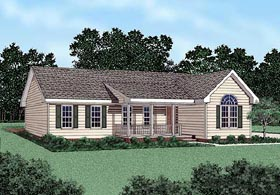 Ranch House Plan 45202 with 3 Beds, 2 Baths Elevation