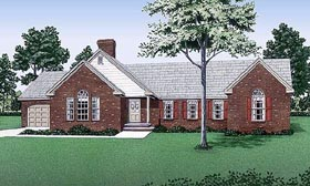 House Plan 45205 | Traditional Style Plan with 1623 Sq Ft, 3 Bedrooms, 2 Bathrooms, 2 Car Garage Elevation
