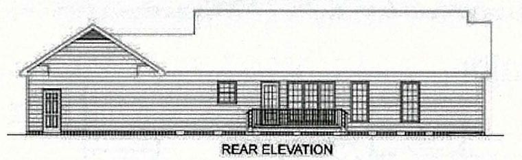 Ranch Traditional House Plan 45210 Rear Elevation