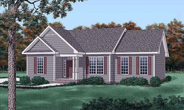 One-Story, Traditional House Plan 45211 with 3 Beds , 2 Baths Elevation
