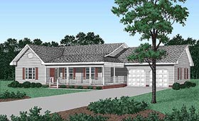 House Plan 45212 | Ranch Style Plan with 1486 Sq Ft, 3 Bedrooms, 2 Bathrooms, 2 Car Garage Elevation