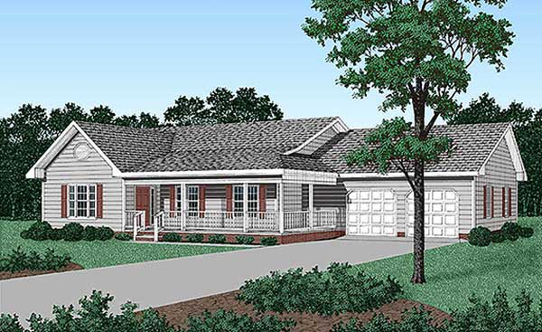 Ranch House Plan 45212 with 3 Beds, 2 Baths, 2 Car Garage Elevation