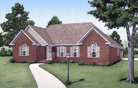 House Plan 45214 | European Traditional Style Plan with 1789 Sq Ft, 3 Bedrooms, 2 Bathrooms, 2 Car Garage Elevation