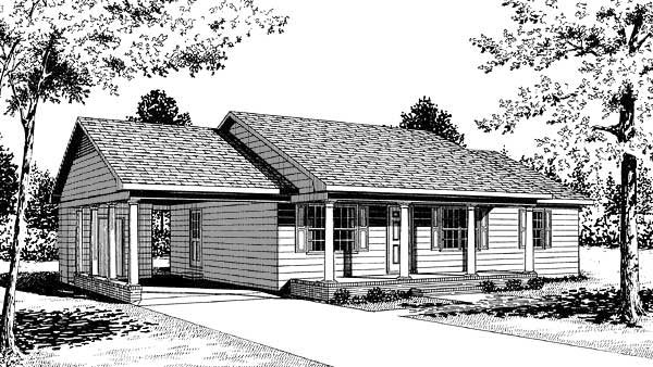 Ranch House Plan 45215 Elevation
