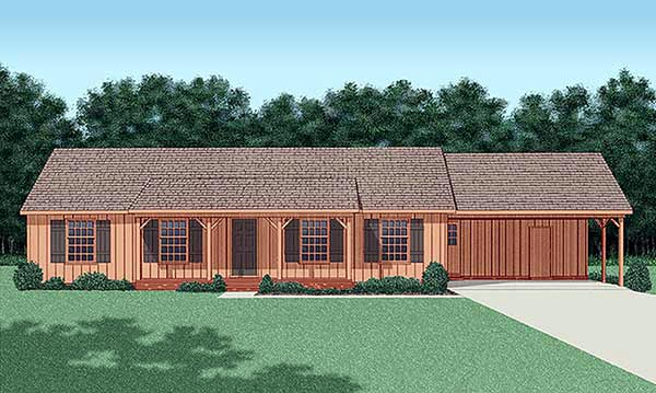 Ranch House Plan 45217 Elevation