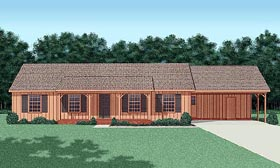 House Plan 45218 | Ranch Style House Plan with 1547 Sq Ft, 3 Bed, 2 Bath, 2 Car Garage Elevation