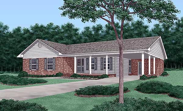 Ranch House Plan 45221 with 3 Beds, 2 Baths, 1 Car Garage Elevation
