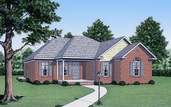 One-Story, Traditional House Plan 45225 with 3 Beds, 2 Baths Elevation