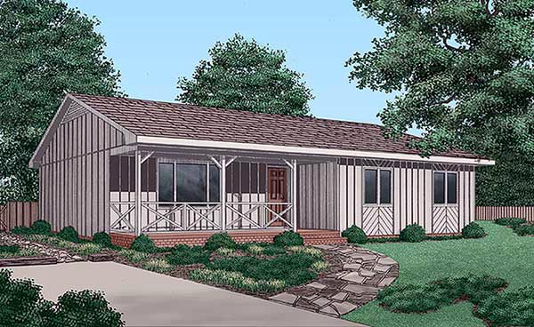 Ranch , Cabin House Plan 45227 with 3 Beds, 2 Baths Elevation