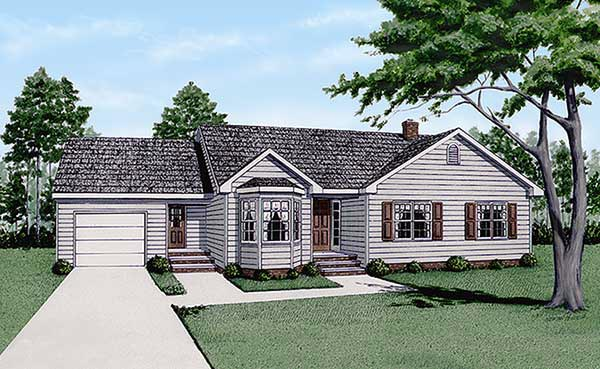 One-Story Ranch Elevation of Plan 45232