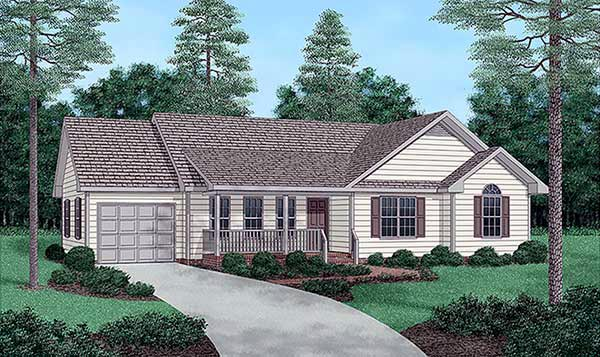 One-Story, Ranch House Plan 45235 with 3 Beds, 2 Baths, 1 Car Garage Elevation