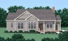 Traditional House Plan 45236 with 3 Beds, 2 Baths Elevation