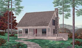 Cabin House Plan 45237 with 2 Beds, 2 Baths Elevation