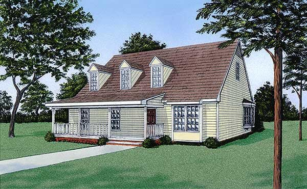 House Plan 45238 | Cape, Cod, Country Style House Plan with 1267 Sq Ft, 3 Bed, 2 Bath Elevation
