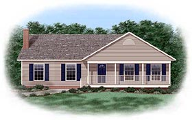 Ranch Traditional House Plan 45241 Elevation