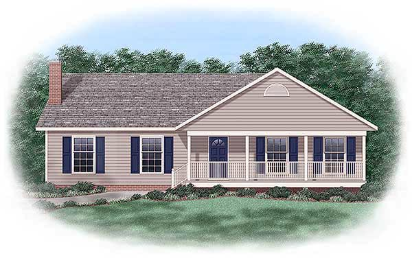 One-Story, Ranch, Traditional House Plan 45241 with 3 Beds , 2 Baths Elevation