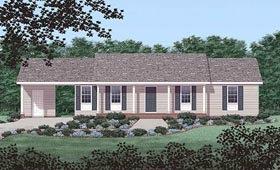 House Plan 45243 | Ranch Style House Plan with 1249 Sq Ft, 3 Bed, 2 Bath, 1 Car Garage Elevation