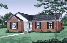 Ranch , Traditional House Plan 45245 with 3 Beds, 2 Baths Elevation