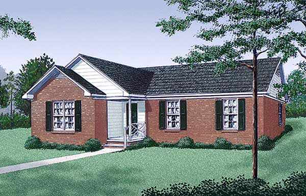 Ranch , Traditional , Elevation of Plan 45246