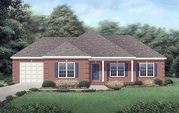 European, One-Story, Traditional House Plan 45250 with 3 Beds, 2 Baths, 1 Car Garage Elevation