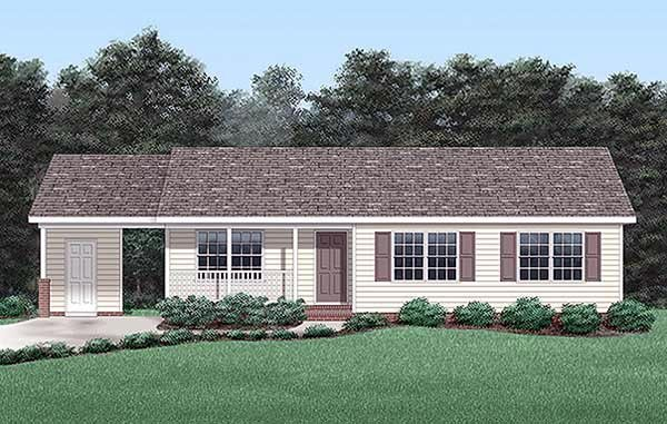 One-Story, Ranch House Plan 45251 with 3 Beds, 2 Baths, 1 Car Garage Elevation