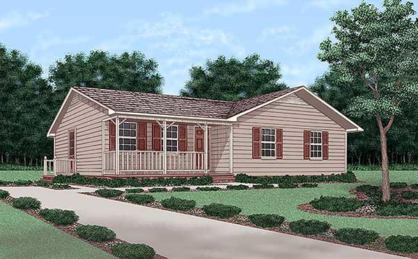 One-Story, Ranch House Plan 45256 with 3 Beds, 2 Baths Elevation