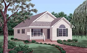 Traditional House Plan 45262 with 3 Beds, 2 Baths Elevation