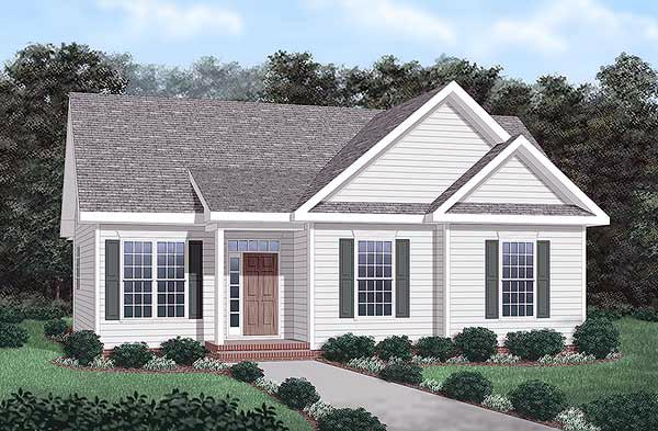 Narrow Lot, One-Story, Traditional House Plan 45263 with 3 Beds, 2 Baths Elevation