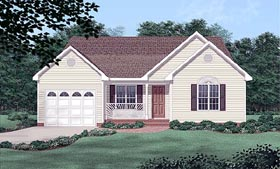 Traditional House Plan 45264 with 3 Beds, 2 Baths, 1 Car Garage Elevation