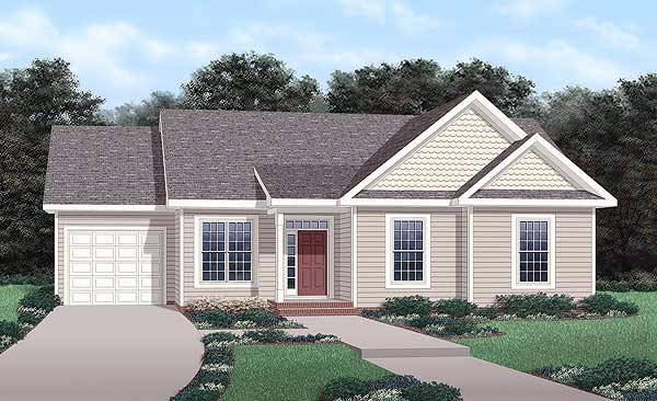 One-Story , Traditional , Elevation of Plan 45266