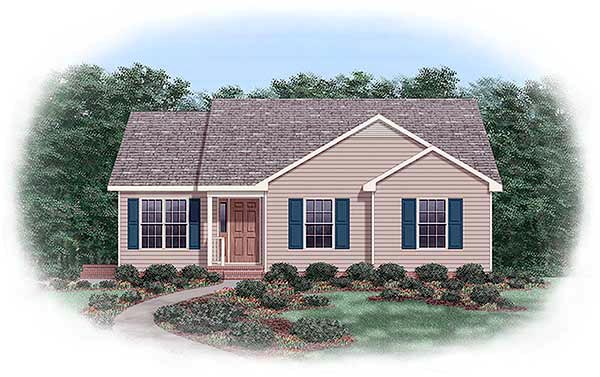 One-Story, Traditional House Plan 45268 with 3 Beds, 2 Baths Elevation