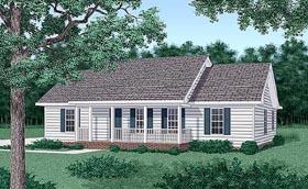 Ranch House Plan 45271 with 3 Beds, 2 Baths Elevation