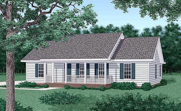 Ranch House Plan 45271 with 3 Beds, 2 Baths Front Elevation