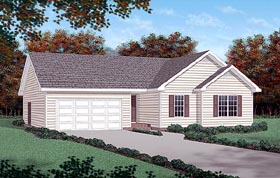 House Plan 45273 | Traditional Style House Plan with 1310 Sq Ft, 3 Bed, 2 Bath, 2 Car Garage Elevation